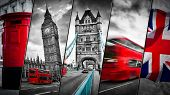Collage of the symbols of London, the UK. Red buses, Big Ben, red postbox, and the Union Jack flag. Traditional England in vintage, retro style. Red in black and white poster