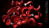 3d illustration of anemia cell isolated black background. poster