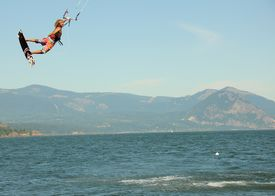 Kite boarder flying high