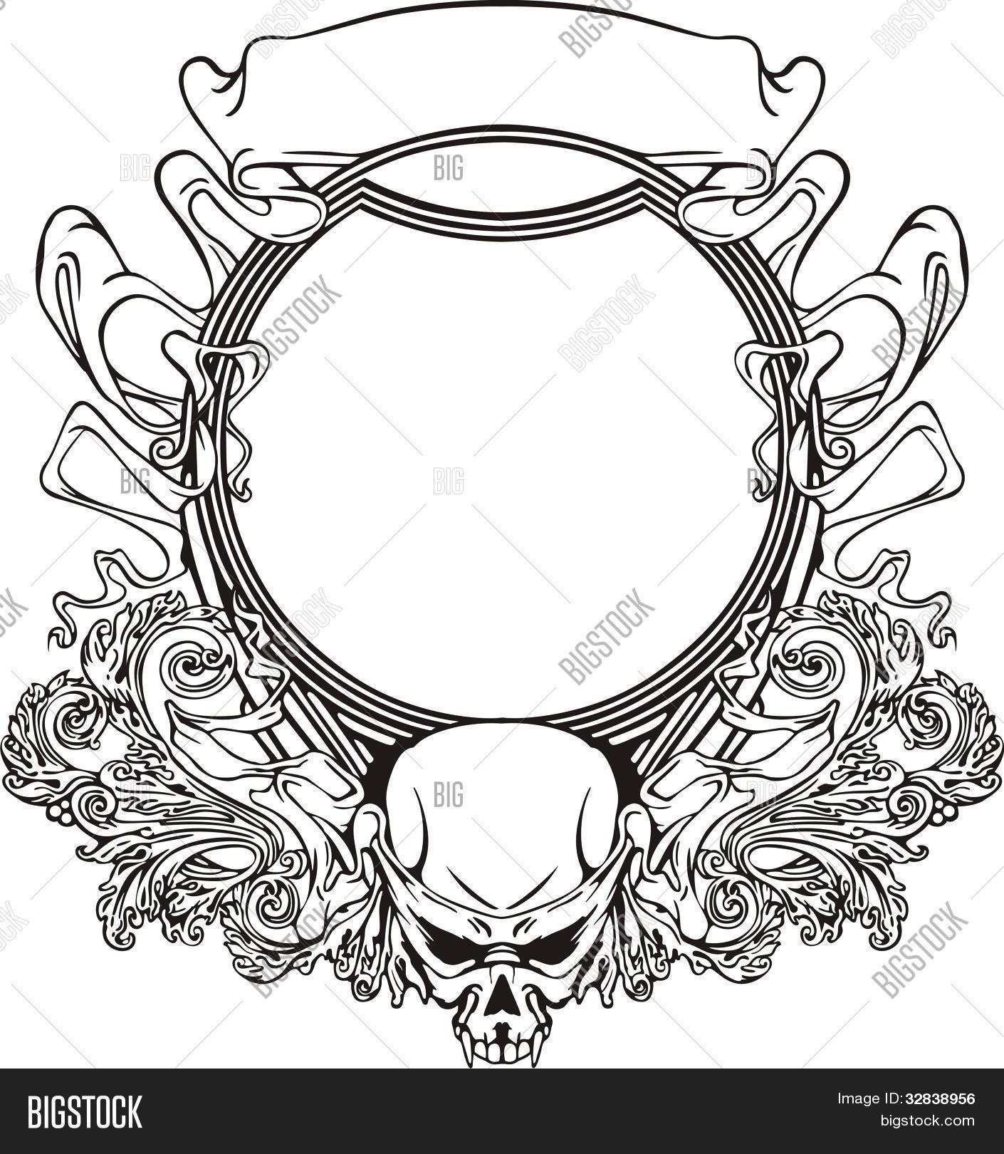 Vector y foto Marco Con Cráneo En Estilo Art   Bigstock