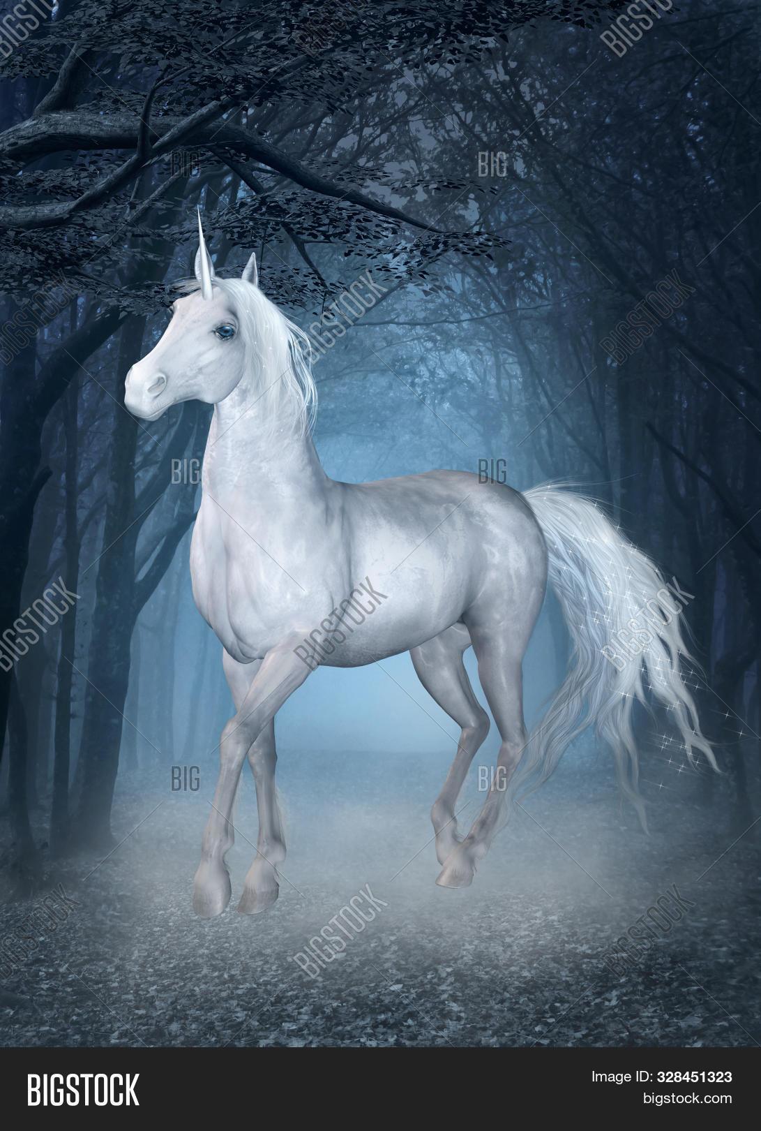 White Unicorn Running Image Photo Free Trial Bigstock