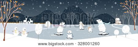 Winter Landscape At Night, Vector Illustration Of Winter Wonderland In Village, Snow Falling In Farm