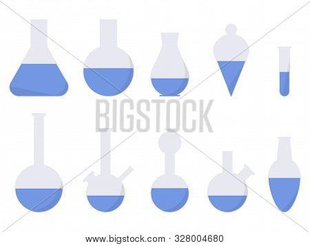 Laboratory Glassware. Chemical Flasks, Medical Test Tubes Icon Set. Vector Illustration