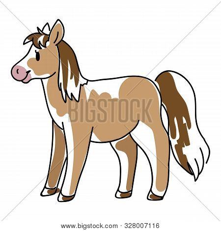 Doodle Inked Horse Childrens Illustration. Hand Drawn Sketchy Equine Pet, Kids Simple Cute Pony Clip