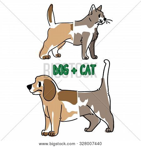 poster of Childish cat and dog animal splice vector illustration. Hand drawn doodle inked pet creature mixture, trendy feline and canine monster clipart.