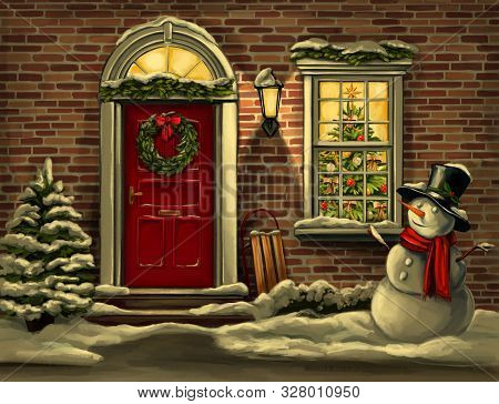 Christmas Night. House In Christmas Decorations, Wreath On The Door In Winter And Snowman, Christmas