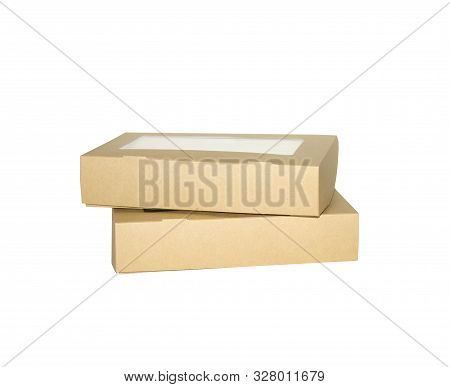 Box Brown Window Square Shape Cut Out Packaging Template, Empty Kraft Box Cardboard Isolated White B