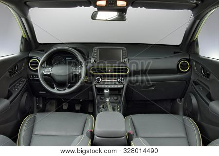 Studio Shot Of The Modern Suv Interior, Front View