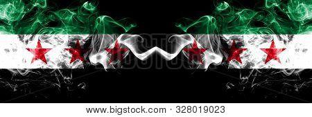 Syrian Arab Republic Vs Syria, Syrian Arab Republic, Opposition Smoke Flags Placed Side By Side. Thi