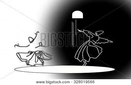 Whirling motion as a single mechanism. Dance of day and night. Sufi religious dance. Illustration, background poster