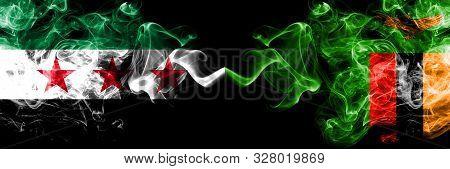 Syrian Arab Republic Vs Zambia, Zambian Smoke Flags Placed Side By Side. Thick Colored Silky Smoke F
