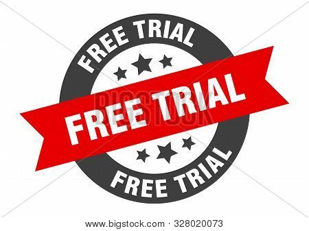 Free Trial Sign. Free Trial Black-red Round Ribbon Sticker
