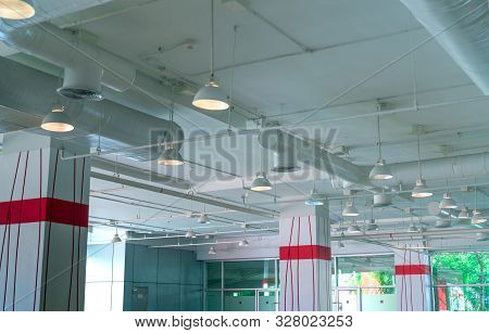 Air Duct, Air Conditioner Pipe, Fire Sprinkler System. Air Flow And Ventilation System. Building Int