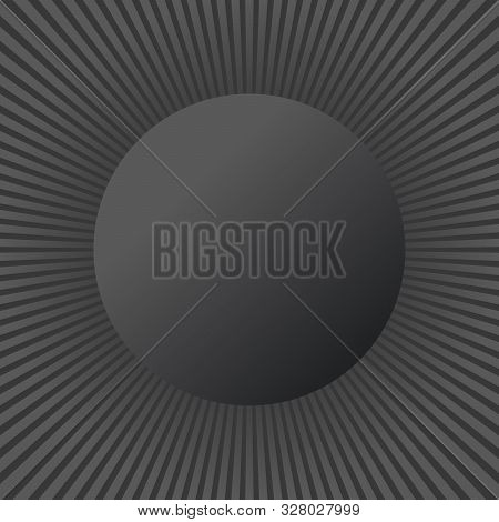 Beautiful Black And White Summer Sun Rays, Sun Burst Background With Circle For Your Text. Stock Vec