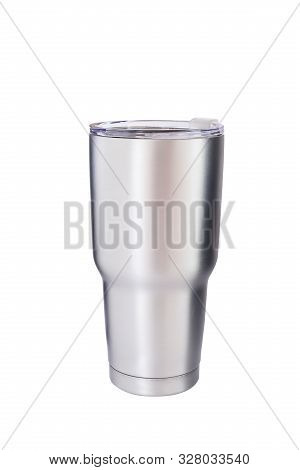 Steel Mug For Keep Temperature On White Background With Clipping Path.