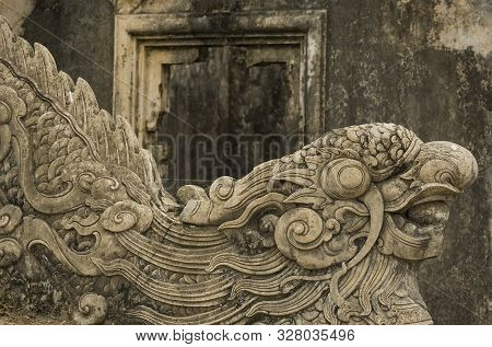 Hue, Thua Thien-hue, Vietnam - February 26, 2011: Detail Of Carved Stone Ladder With Dragon Figure I