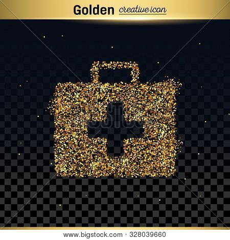 Gold Glitter Vector Icon Of First Aid Isolated On Background. Art Creative Concept Illustration For