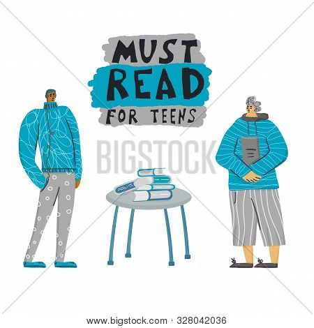 Must Read For Teens. Boys Standing Full Lenth At Book Shop. Young Adult Characters Isolated. Vector