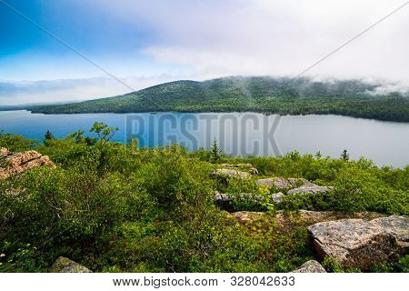 View Of Eagle Lake And Slight Fog In Acadia National Park, Maine, Usa