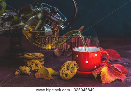 Pouring hot tea in red in white dotted cup. Autumn teatime composition on dark background with colored leaves and chocolate cookies. poster