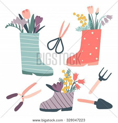 Cute Rain Boots With Flowers And Gardening Tools Set. Rubber Boots With Bouquets. Cartoon Flat Style
