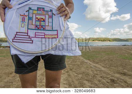 Ilha Do Ferro, Pao De Acucar, Alagoas, Brazil - June 23, 2016: Embroiderer From Iron Island Or Ilha