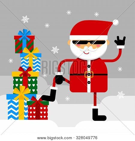 Grinning  Santa  With Devil Horns Gesture With A Bunch Of Presents. Vector Illustration