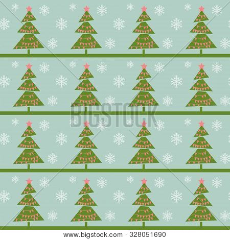 Vintage Christmas Trees. Seamless Vector Illustration With Abstract Christmas Trees And Snowflakes