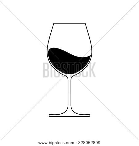 Wine Glass Icon With Wine. Isolated Sign Glass Of Wine On White Background. Vector Illustration.