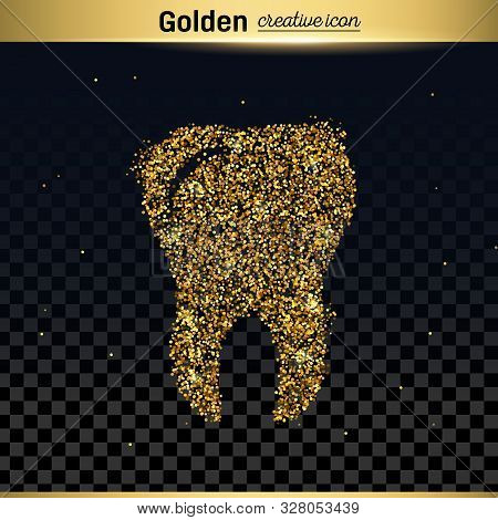 Gold Glitter Vector Icon Of Tooth Isolated On Background. Art Creative Concept Illustration For Web,