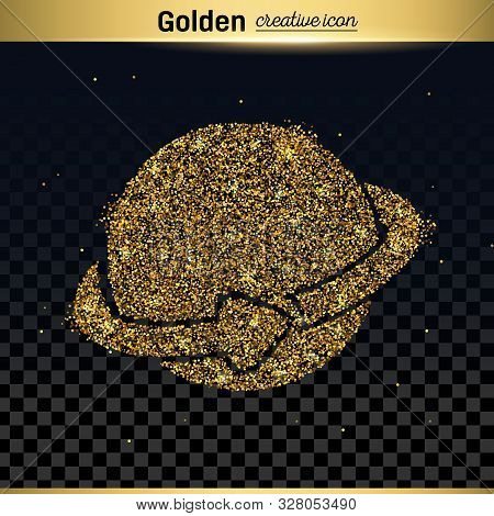Gold Glitter Vector Icon Of Planet Earth Isolated On Background. Art Creative Concept Illustration F