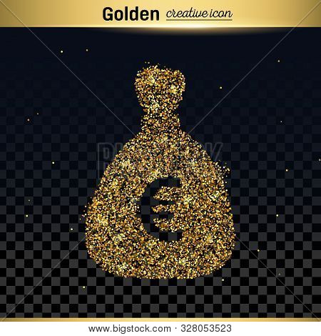 Gold Glitter Vector Icon Of Money Bag Isolated On Background. Art Creative Concept Illustration For