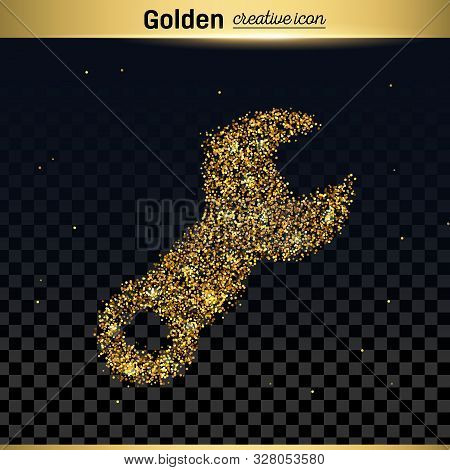 Gold Glitter Vector Icon Of Spanner Isolated On Background. Art Creative Concept Illustration For We