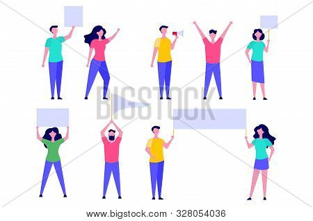 Set Of Activist Or Protesters Men And Women Holding Blank Banner, Flag, Placard, Loudspeaker. Vector