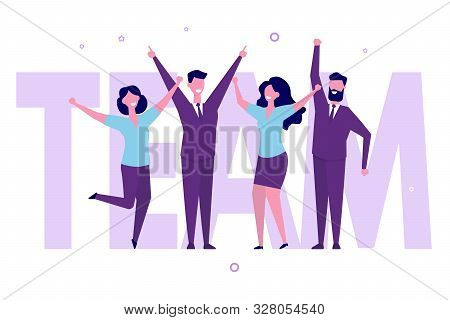 Successful Business Team Celebrating The Victory. Group Of Colleague, Office Workers Or Businessmen