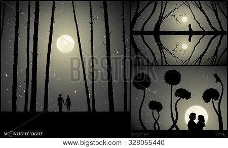 Set Of Vector Illustrations With Silhouettes Of People In Park On Moonlit Night. Lovers In Pine Fore