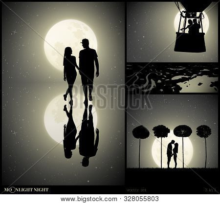 Set Of Vector Illustrations With Silhouettes Of People In Park On Moonlit Night. Two Lovers Walk Aft