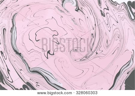 Abstract Vector Painting. Pink And Black Marbling Background. Decorative Marble Texture. Abstract In