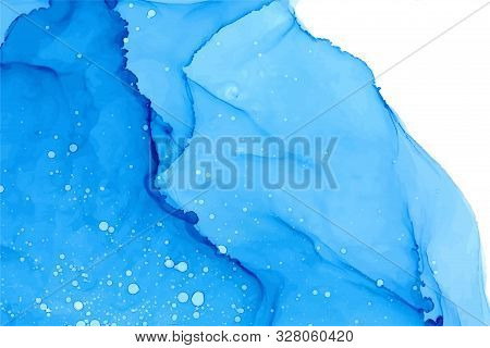 Azure Watercolor Splashes Vector Texture. Hand Drawn Sapphire Colored Blots Background. Splattered A