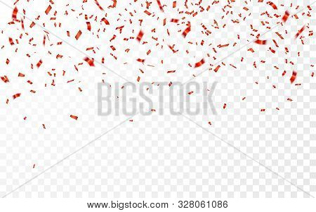 Red Confetti. Celebration Carnival Falling Shiny Glitter Confetti In Red Color. Luxury Greeting Card