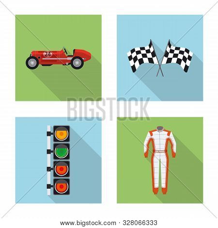Isolated Object Of Car And Rally Logo. Collection Of Car And Race Vector Icon For Stock.