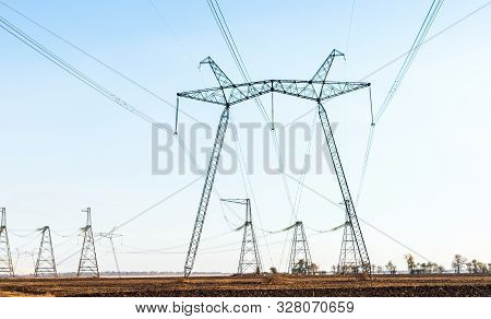 Power Lines With Metal Supports