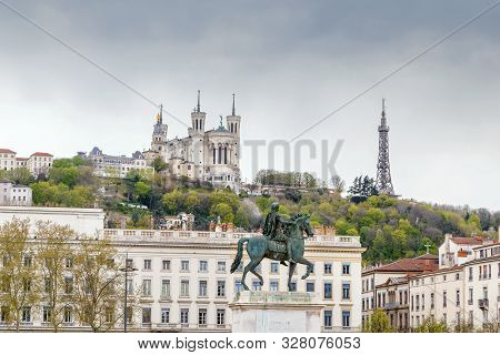 View Of Basilica Of Notre-dame De Fourviere From Place Bellecour In Lyon, France