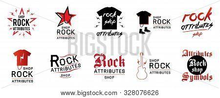 Vector Logo For Rock Shop Paraphernalia, Symbols