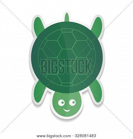 Vector Sticker Cartoon Illustration Of A Cute Smiling Happy Turtle Character.