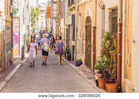 Marseille France. 22 June 2019. A Street Scene In The Old Town La Panier In Marseille In France