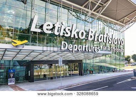 Bratislava, Slovakia - October 6 2019: Entrance Into Departure Hall Of Bratislava Airport Terminal W