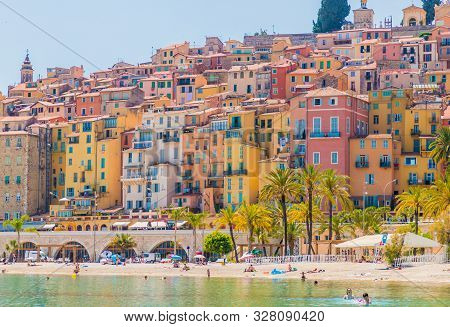 Menton France. 17 June 2019. A View Of The Colourful Buildings In Menton In France
