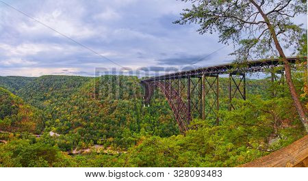 Panorama Of The  New River Gorge Bridge As Viewed From Overlook.