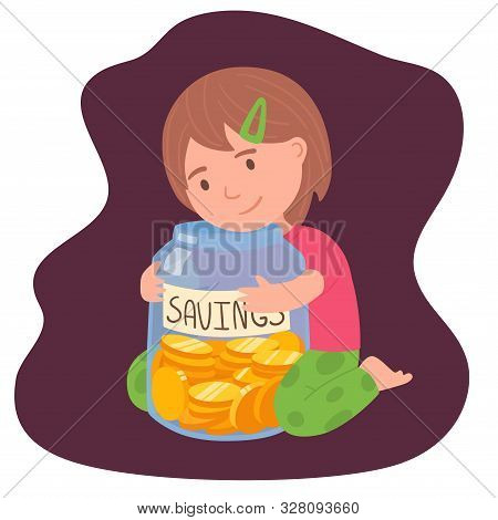 Cute Brunette Little Girl Holding The Glass Jar With Saved Money Investments For Kids Concept. Finan